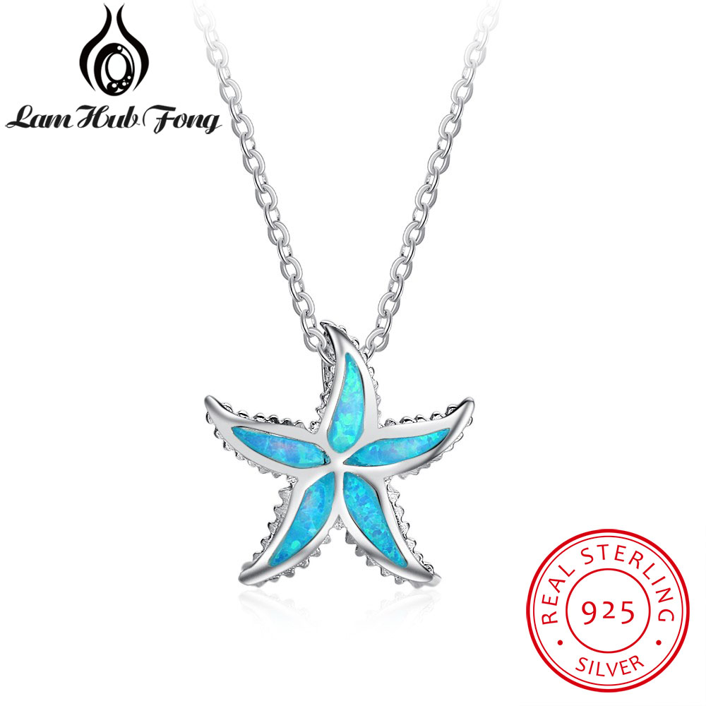 Women/'s 925 Solid Silver Clear Crystal Cute Starfish Pendant Chain Necklace