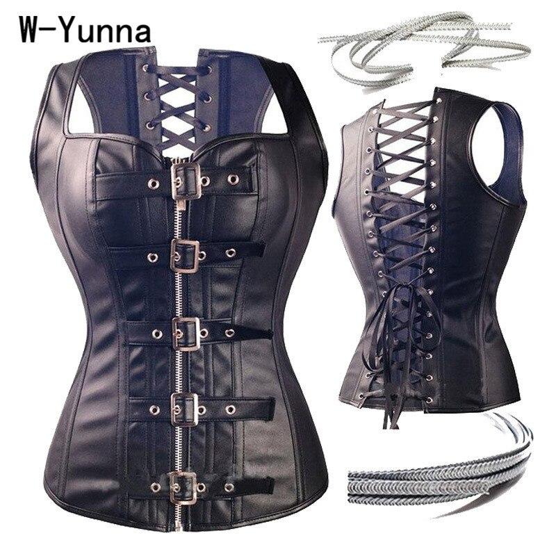 W-Yunna di Vendita Caldo Steampunk Faux Leather Vita Trainer Lace Up Corsetto Delle Donne Più Il formato 6XL Gotico A Spirale In Acciaio ossa Bustini