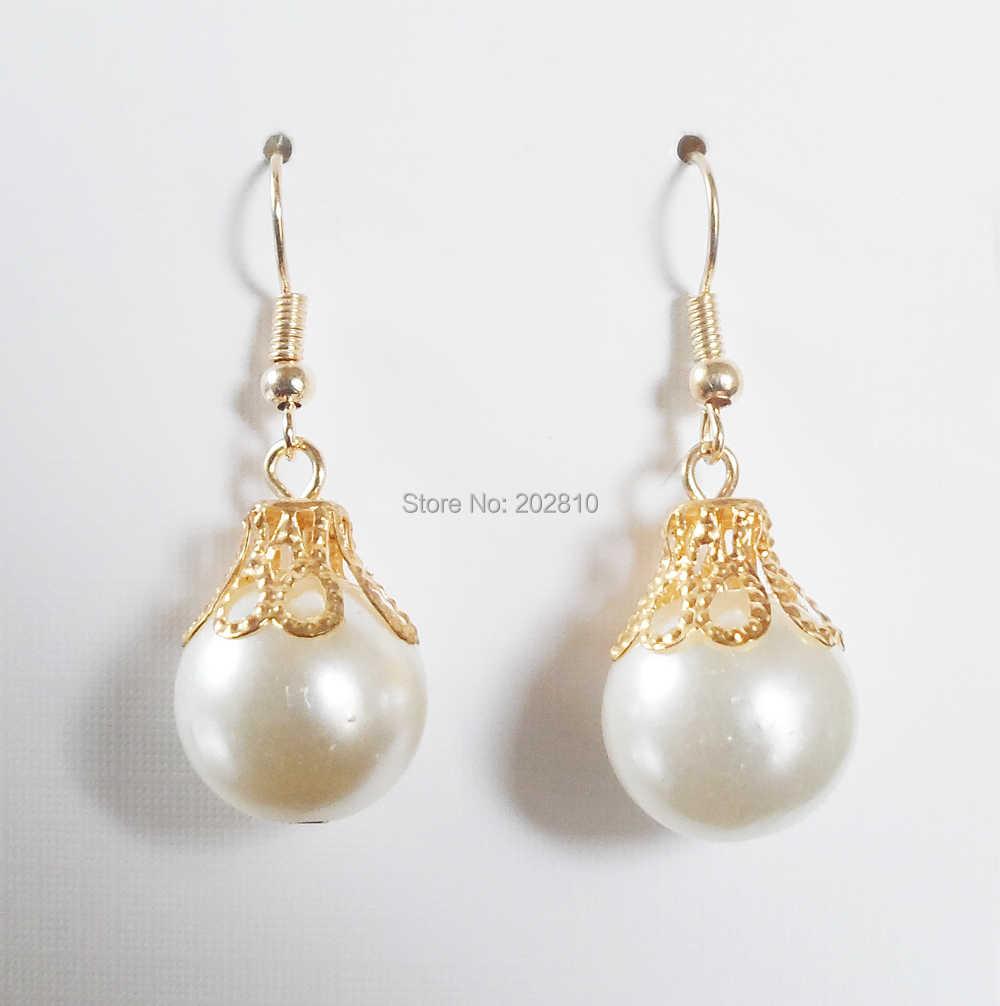 {מפעל מכירה כולו quanlity פיין ציפוי זהב עגילים לנשים, עגילי פנינת סגסוגת קיבול זהב, פנינה עגיל טיפת