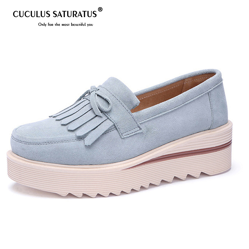 Cuculus Summer Autumn Women Flat Platform Shoes Suede Leather Tassel Slip on Loafers Flat Women Moccains Fringe Casual Shoes 507 suede