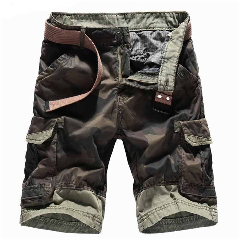MORUANCLE Men Summer Camo Cargo Shorts Casual Camouflage Short Trousers With Multi Pockets Military Style 100% Cotton Size 30-40