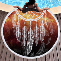 Fashion personality Bohemia style beach towel round catch dream net national wind towel and fringed feel soft.