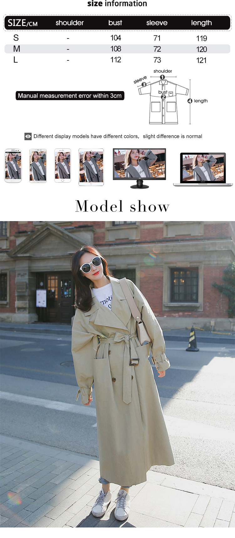 new arrival women fashion holiday comfortable loose trench coat professional OL temperament solid girls warm outdoor long trench 2
