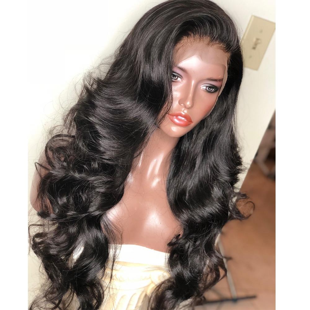 Бесклеевого парики объемная волна 250 плотность предварительно сорвал полный шнурок человеческих волос парики для женский, черный с ребенко