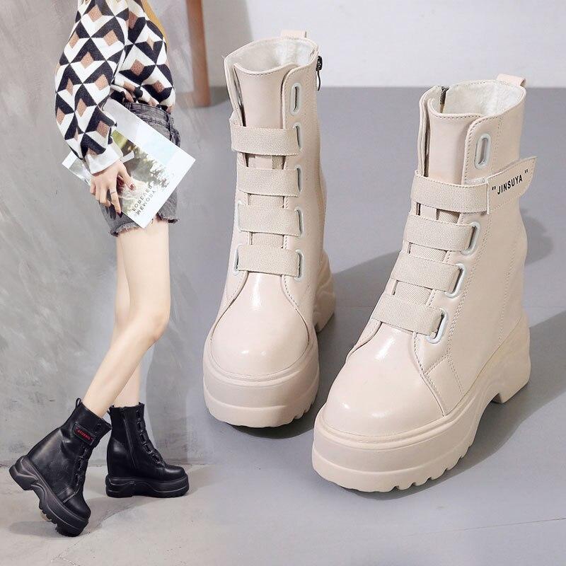 Cuñas Martin Deporte Altura blanco Zapatillas 12 Negro Invierno Mujer Plataforma Aumentó Botas Tobillo Otoño 2018 Cm De Mujeres 6WFqW17g