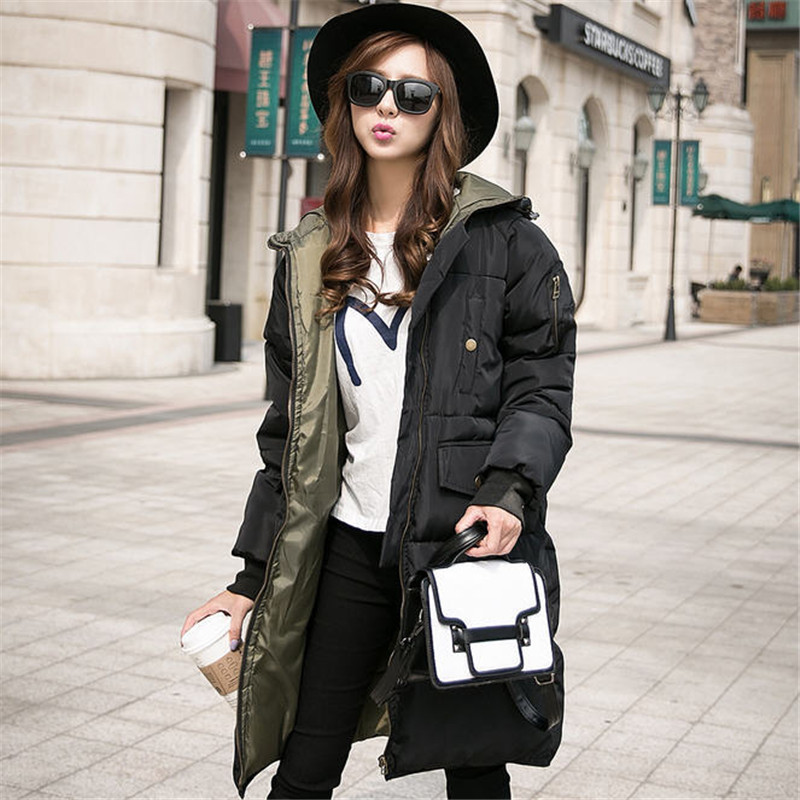 Women Winter Wadded Coat Plus Size XXXL Female Hooded Thickening Solid Outerwear Casual Down Cotton Parka  Abrigos Mujer A1459 plus size l 3xl 2016 new women winter jacket long hooded cotton parka knee length outerwear coat women abrigos mujer yc545