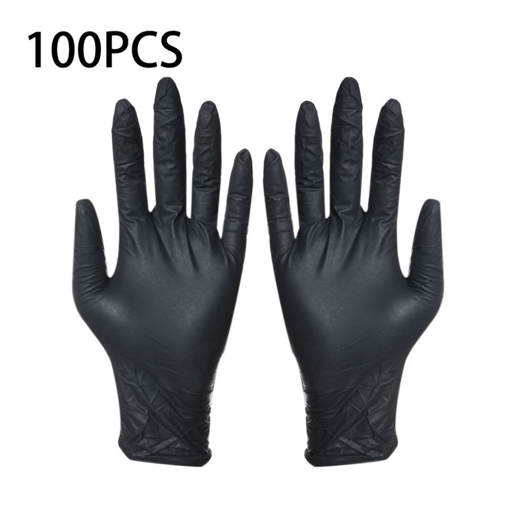 100pcs Disposable Black Gloves Household Cleaning Washing Gloves Nitrile Laboratory Nail Art Medical Tattoo Anti-Static Gloves