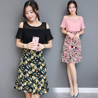 Women Summer Chiffon Dress Patckwork Floral Graphic Print O neck Short Sleeve Casual Party Female Japan Style OL SP031