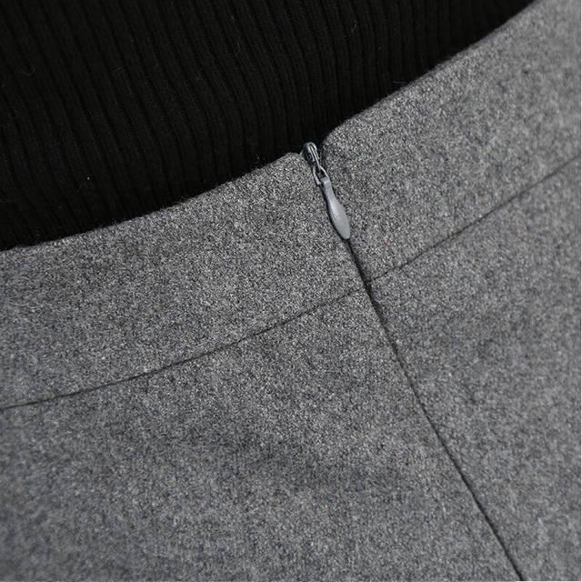 54f5bde06336 placeholder 2018 Spring Autumn Winter Women High Waist A-Line Skirt Woolen  Short Skirt Slim Elegant