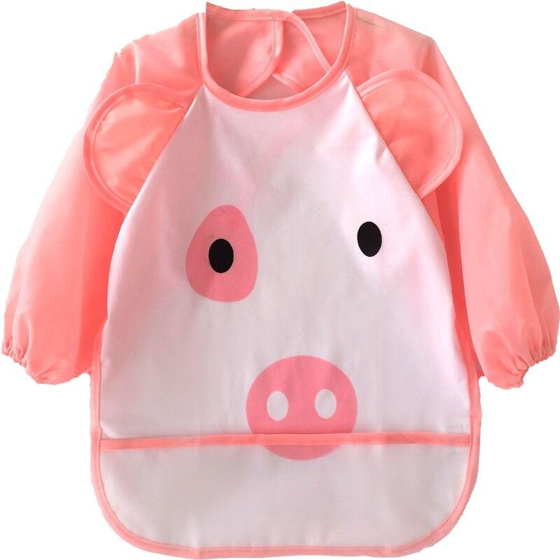 9 Colors Cute Baby 1-3T Cartoon Children Bib Printed Long Sleeve Baby Bib Infant Waterproof Apron Clothing