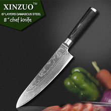 XINZUO 8″ inch High quality chef knife China 67 layer Damascus stainless steel kitchen knife pakka wood handle free shipping
