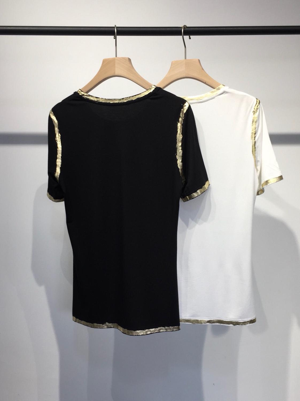 Ddxgz3 2 Couleur T shirt Femmes Nouveau Courtes Manches Tendance D'été LqGzUVjMpS
