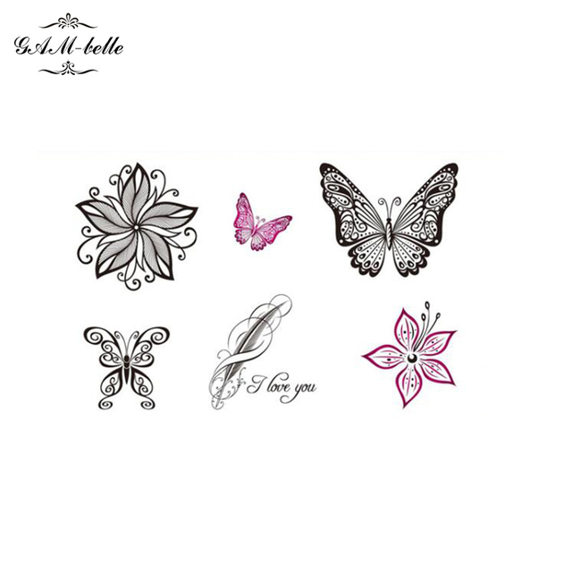 Small Flowers Tattoo Stickers Lasting Body Painted Flowers Butterfly