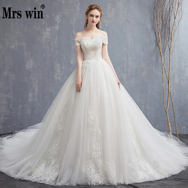 Mrs Win Applique Lace Vintage Wedding Dress 2019 New Off Shoulder Bride Dress Princess Dream Wedding Gown China Bridal Gowns