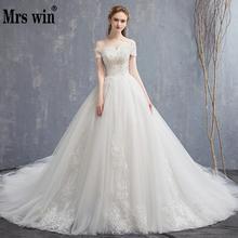 Mrs Win Applique Lace VINTAGE 2020 ใหม่ปิดไหล่ชุดเจ้าสาวเจ้าหญิง Dream ชุดแต่งงานจีนชุดเจ้าสาว