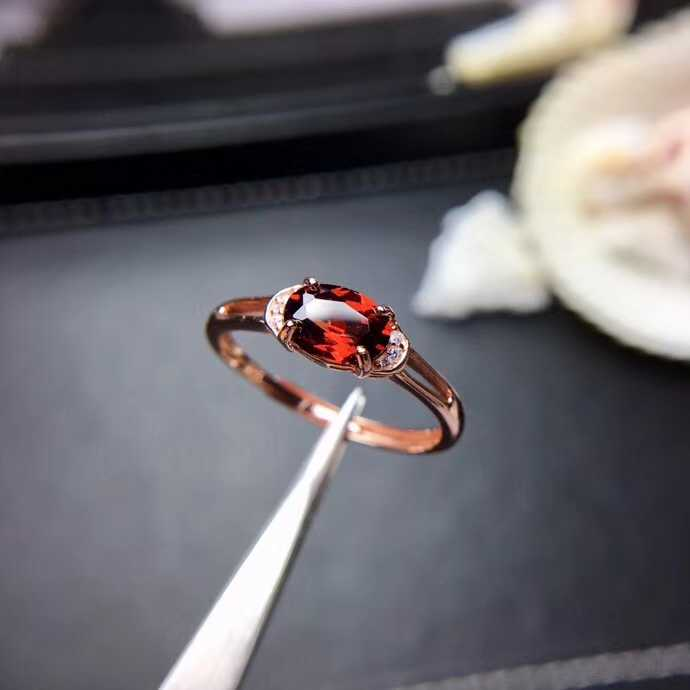 Elegant two level Lovely round Natural red garnet gem Ring Natural gemstone ring S925 silver women party girl gift fine Jewelry
