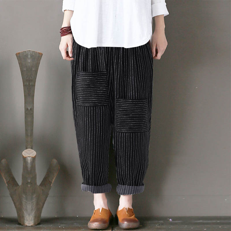 ZANZEA Women Cotton Linen Striped Harem Pants Elastic Waist Casual Turnip Long Trousers Pockets Loose Pantalon Plus Size