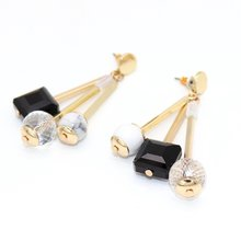 New White Black Beads Dangle Natural Stone Earrings Geometry howlite Gray Pearl Gold Color Brincos Pendientes Jewelry Women(China)