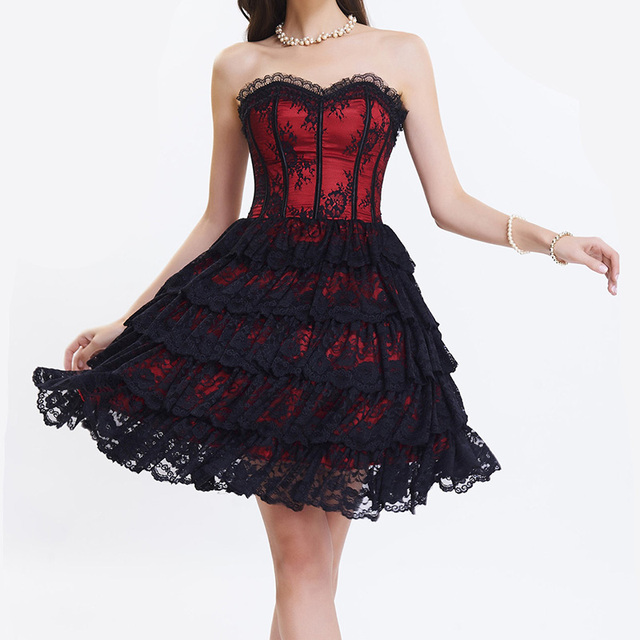 Red Satin And Black Floral Lace Ruffles Beautiful Burlesque Corset