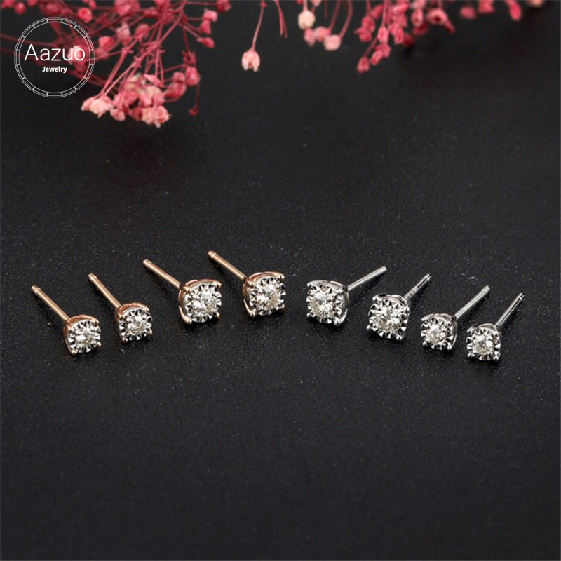 Aazuo 100% 18K White Gold Real Diamonds Fashion Geometric Triangle Round Stud Earrings gifted for Women Wedding Party Au750-in Earrings from Jewelry & Accessories    1