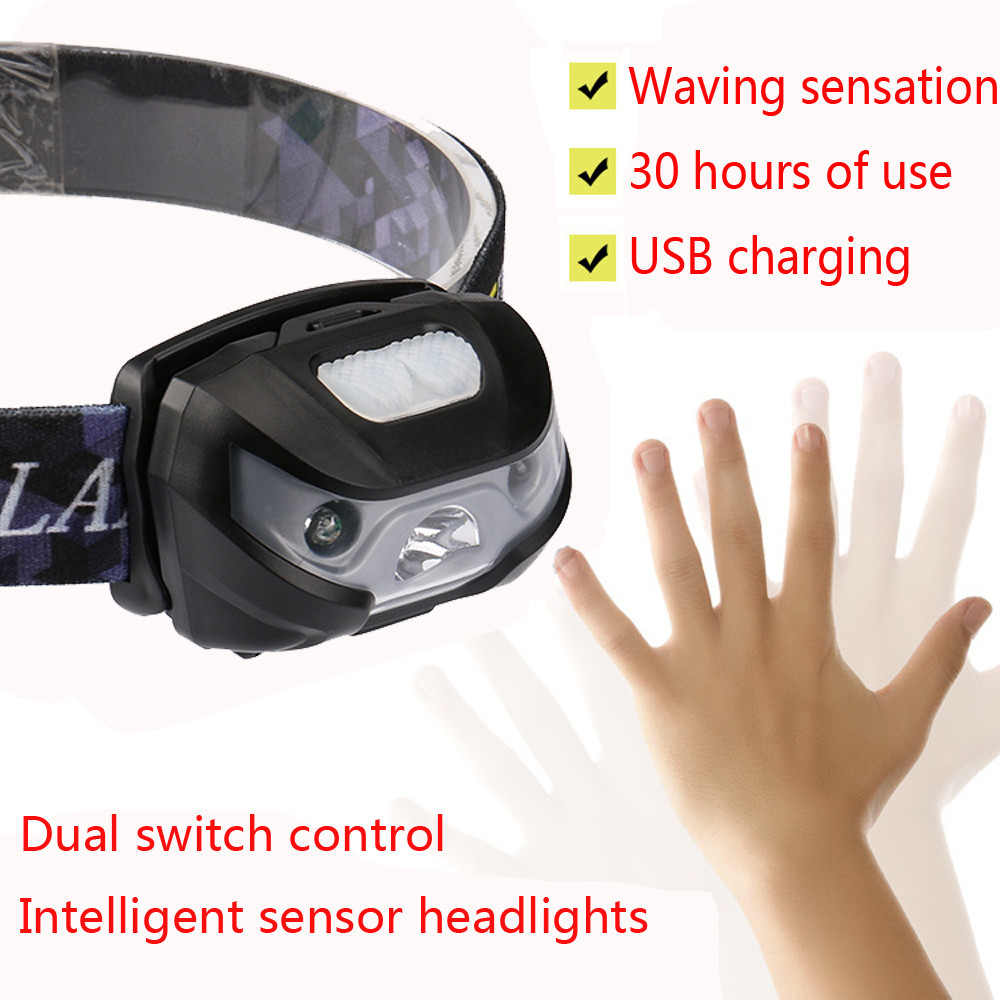 Mini Rechargeable LED Headlamp 3000LM Body Motion Sensor Headlight Camping Flashlight Head Light Torch Lamp With USB-in Headlamps from Lights & Lighting
