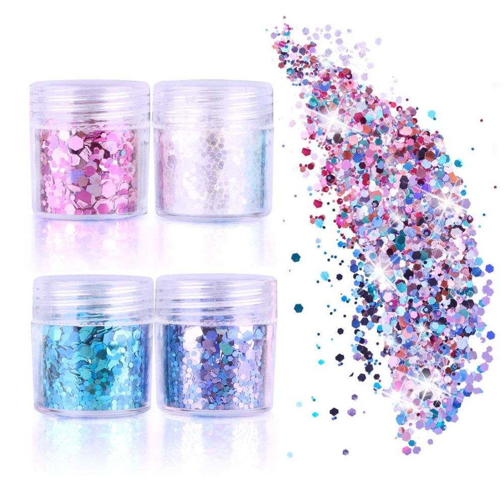 Face Glitter Chunky Glitter Cosmetic Glitter Sparkle Decoration Glitter Hair Body Face And Nails 4 Colour
