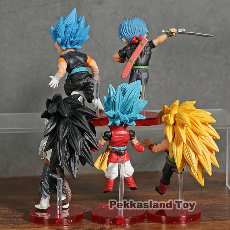 5 pcs Set Super Heróis Vol.4 Mundial Collectible Figura Super Saiyan Dragon Ball Son Goku Vegetto Troncos Azul Barduck Broly