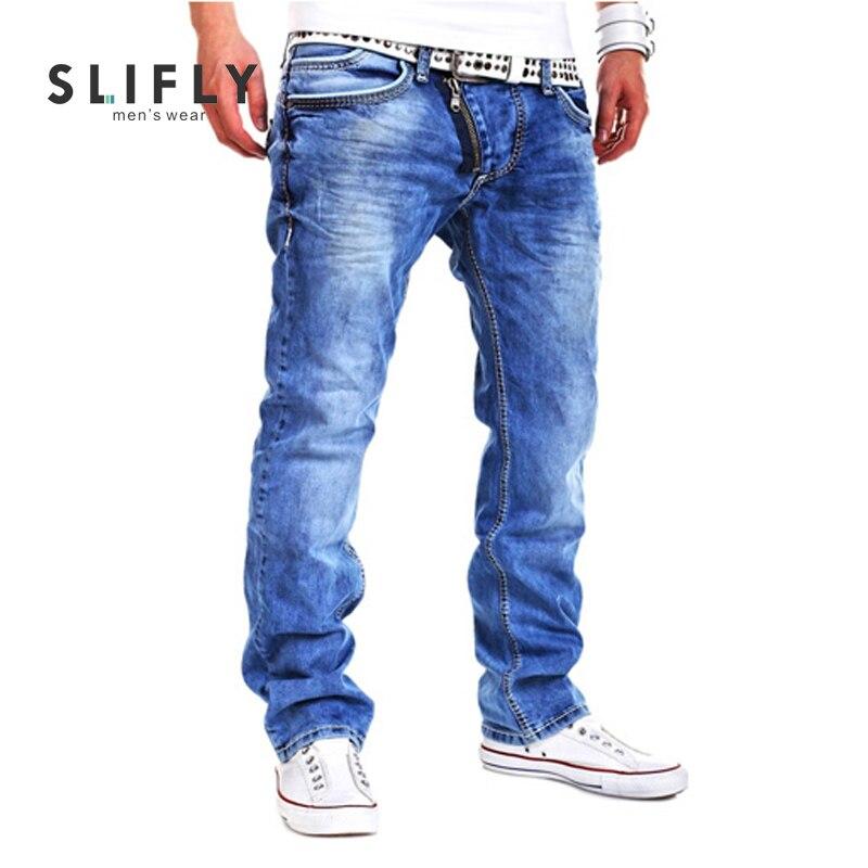 Men Jeans Straight Trousers Oblique Zipper Cotton Skinny 2016 Fashion Midweight Denim jeans homme Pants