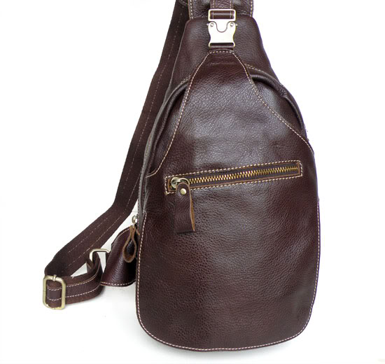 Men's Vintage 100% Genuine Leather Chest Pack Travel Riding Men Messenger Shoulder Cross Body Sling Pack Chest Bag Coffee J2467 стоимость