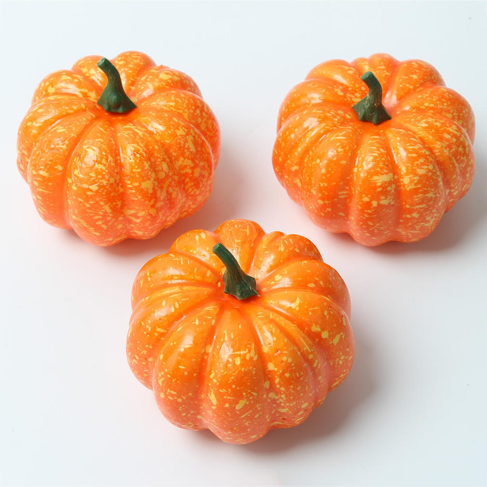3pcs lifelike artificial foam mini halloween pumpkins fake vegetable home wedding party festival decorations photography props - Halloween Foam