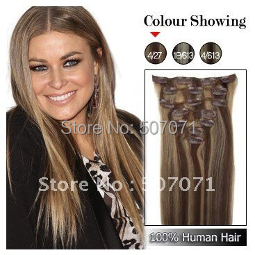 "free shipping 15"" 18"" 20"" 22"" 7 pcs  human hair clip in extensions clip on hair #4/27 70g/set"