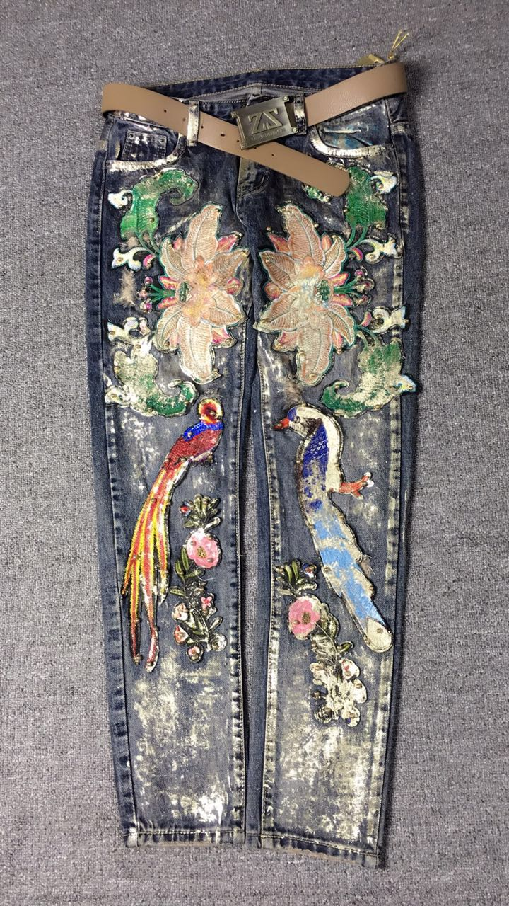 European 2017 latest European Fashion Heavy beading embroidered flowers stamping feet Slim denim jeans trousers