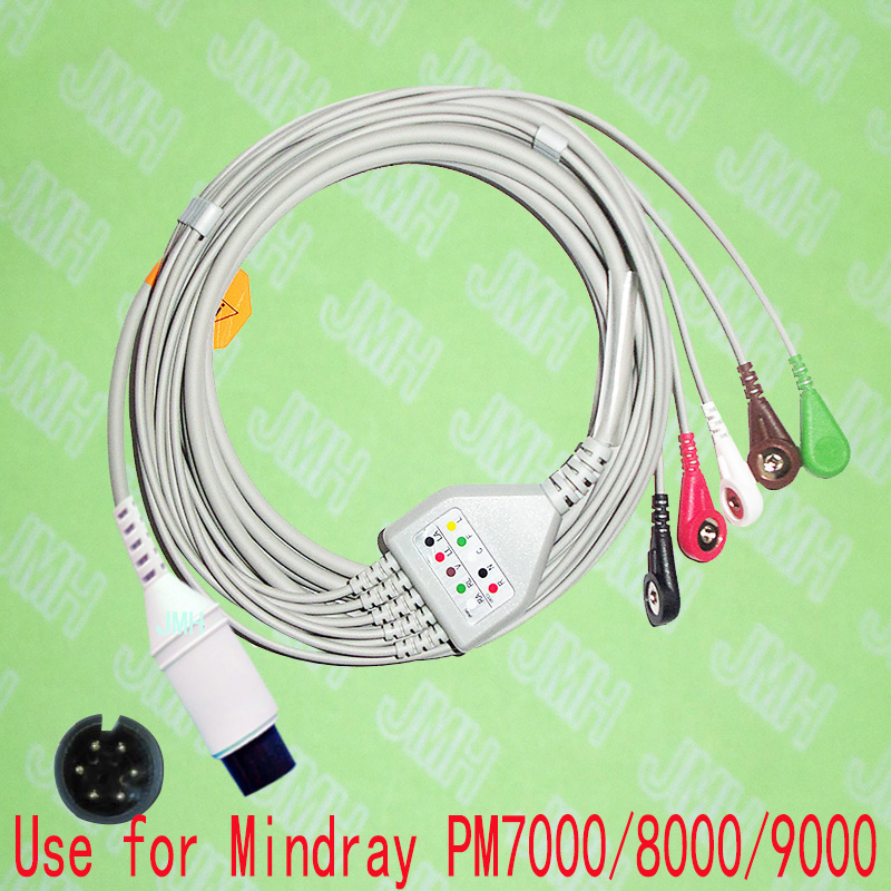 Compatible 6pin Mindray PM9000, PM8000,PM7000 And Goldway ECG Machine The One-piece 5 Lead Cable And Snap Leadwire,IEC Or AHA.
