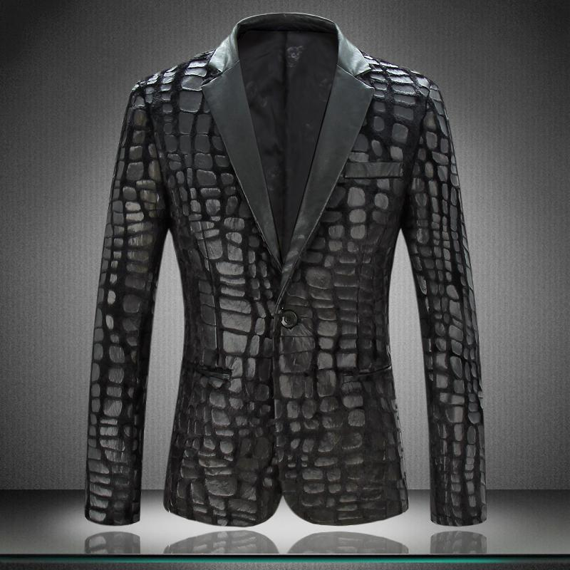 Aliexpress.com : Buy PU Leather Blazer Jacket Men 2015 New Luxury ...