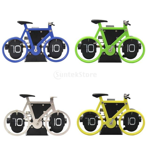 Creative Flip Clock Bicycle Shaped Clock Table Alarm Travel Clock Home Decorative