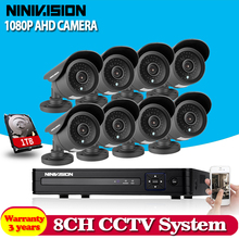 Home AHD-NH 8CH CCTV System 1080P DVR 3000TVL Outdoor Video Surveillance 2.0MP Security Camera System 8 channel DVR Kit 1TB HDD