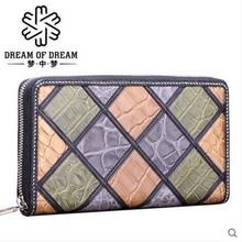 mengzhongmeng  new crocodile women Purse lady real crocodile leather long purse lady purse lady's zipper purse women clutch bag