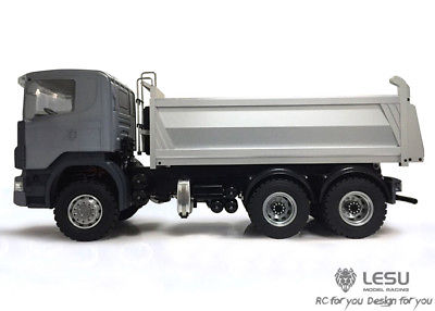 LESU 1/14 Scania 6x6 Metal Hydraulic Dumper RC Truck Model ESC Servo DIY TAMIYA lesu metal axles b differential locks 1 14 rc 6x6 tractor truck tamiya model