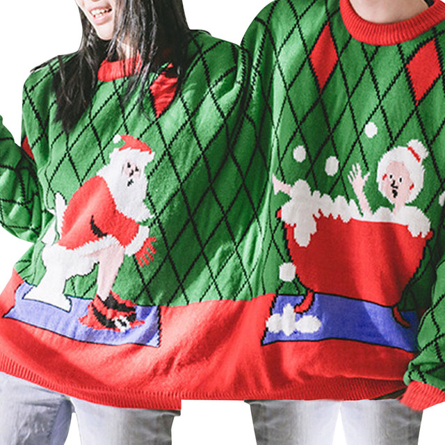 Two Person Long Sleeve Winter Sweatshirt Unisex Couples Pullover Novelty Christmas Blouse O Neck clothes sudaderas para mujer 1