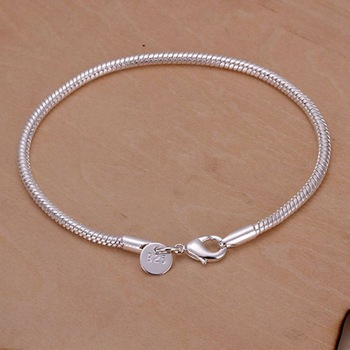 Free Shipping Wholesale silver bracelet, 925 fashion silver plated jewelry 3mm Snake Bone Bracelet /NUDZRQQA BFLAWZOV