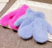 2015 Winter New Arrival Women Soft Wool Rabbit Hair Warm Knit Gloves Fashion Lovely Warmer Girls