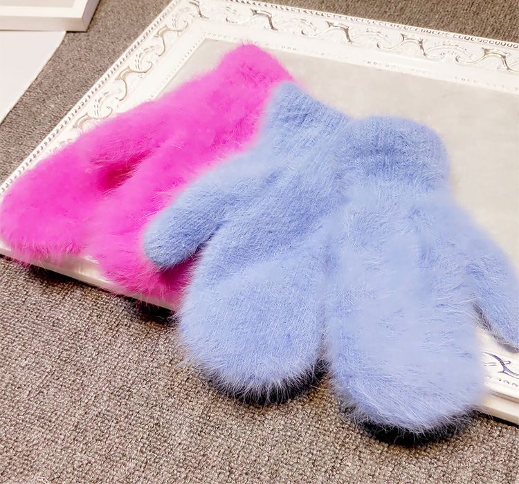 2015 Winter New Arrival Women Soft Wool rabbit hair Warm Knit Gloves Fashion Lovely Warmer Girls' candy color Mittens Gloves