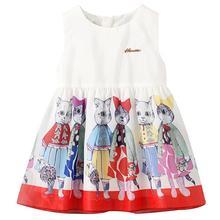 Famuka Summer Baby Dress Sleeveless Print Cat Dress