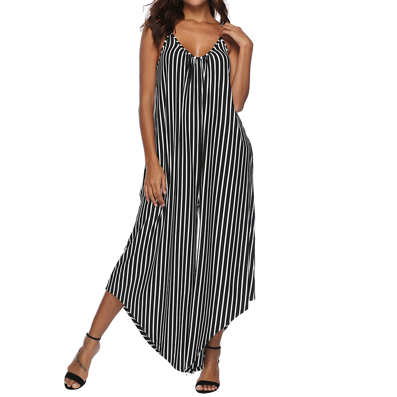 2c5e6216c4c Package include 1 Jumpsuit Product Detail  -Sleeveless -V-Neck -Casual Loose  -Plus Size -Wide-Legged -Stripe Pattern -No Zipper