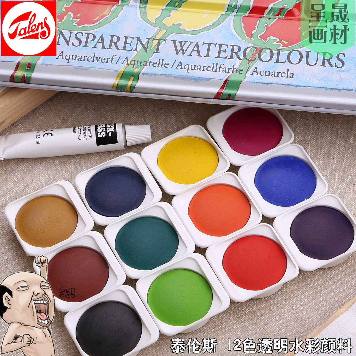 Recommended Terrence Holland Transparent Solid Color Watercolor 24 Colors Iron Box Set water color With Harmonization Agent цена