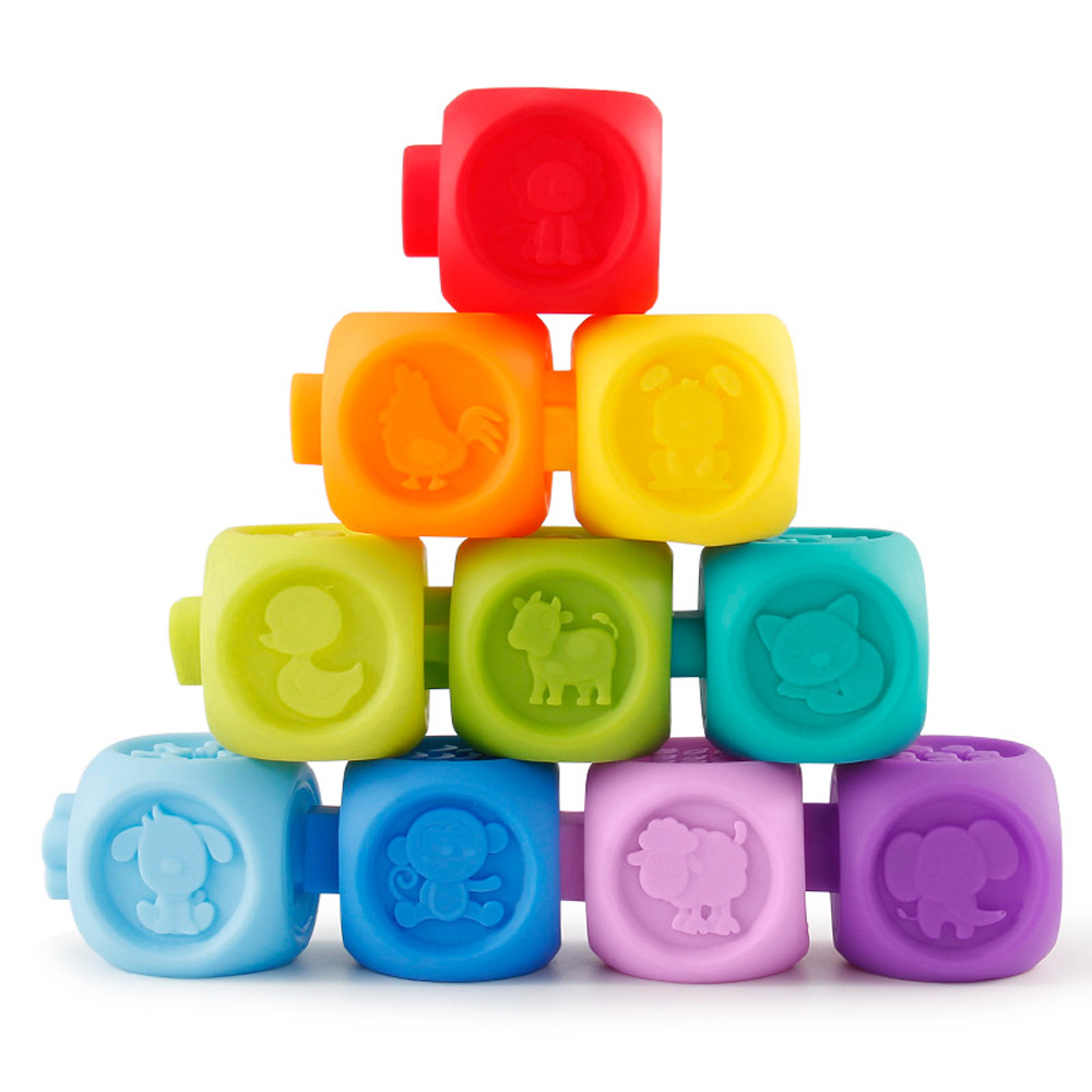 10Pcs/Set Colorful Baby Blocks Toys With Sound Soft Plastic Cube Building Blocks 2018 Early Educational Toys For Children Kids