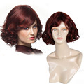 New Arrival Short Bob Hair Wigs Heat Resistant Synthetic Vintage Black Women's Wine Red  Curly Wigs with Side Bangs