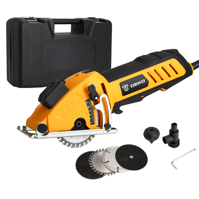 DEKO Mini Circular Saw Power Tools with Laser, 4 Blades, Dust passage, Allen key, Auxiliary handle, BMC BOX Electric Saw 4