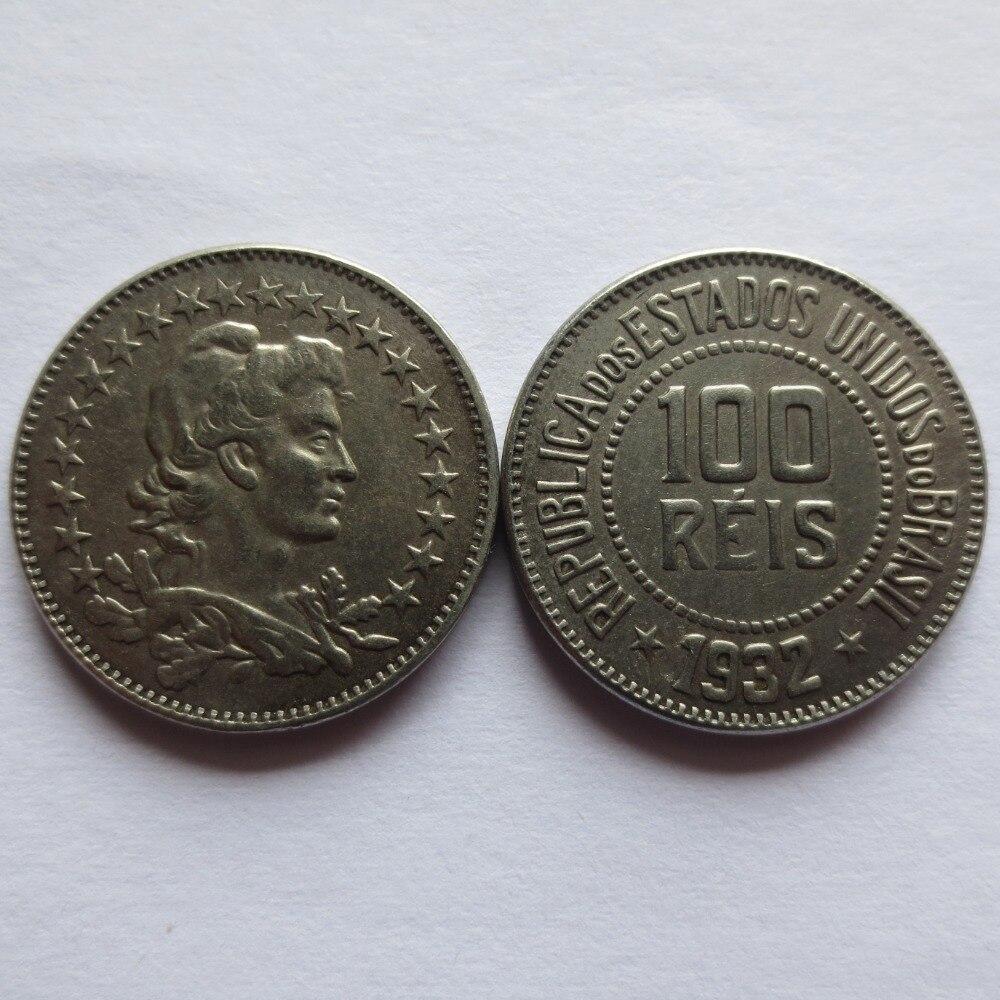 Бразилия 1932 100 Reis Медь-Никель копирования монеты высокое качество