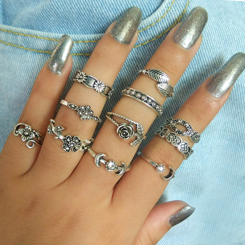 Bohemian Crystal Moon Womens Ring Sets 6